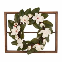 Glitzhome Wooden Window Frame with Artificial Magnolia Wreath