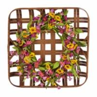 Glitzhome Chrysanthemum Wreath & Bamboo Tobacco Basket Decoration - 24 in