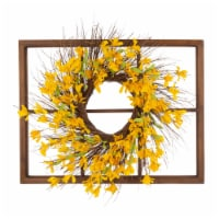Glitzhome Wooden Window Frame With Artificial Winter Jasmine Wreath
