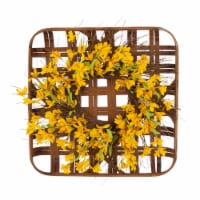 Glitzhome Bamboo Tobacco Basket With Artificial Winter Jasmine Wreath