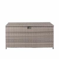 Glitzhome Outdoor Patio Garden Wicker Storage Deck Box - Gray / Cream
