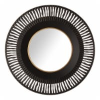 Glitzhome Vintage Industrial Metal Round Classic Wall Mirror