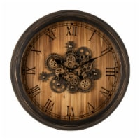 Glitzhome Vintage Industrial Oversized Wooden/Metal Wall Clock