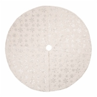 Glitzhome Plush Snowflake Christmas Tree Skirt - White
