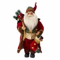 Glitzhome Christmas Santa Figurine - Red