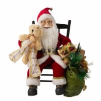 Glitzhome Christmas Sitting Santa Figurine with Wooden Rocking Chair