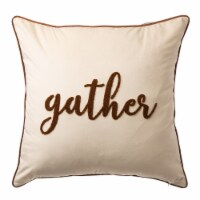 Glitzhome Velvet Gather Embroidered Pillow Cover