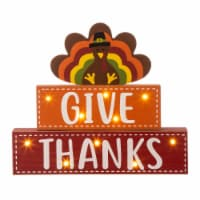 Glitzhome Wooden Lighted Thanksgiving Turkey Wood Block Table Decoration - 11.81 in