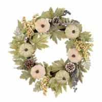 Glitzhome Pumpkin with Green Leaf and Berries Wreath