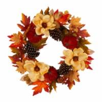 Glitzhome Blooming Magnolia Wreath with Velvet Pumpkin & Pinecone