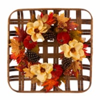 Glitzhome Blooming Magnolia Bamboo Tobacco Basket Wreath