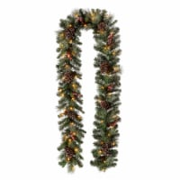 Glitzhome Glittered Pine Cone Christmas Garland with LED Lights