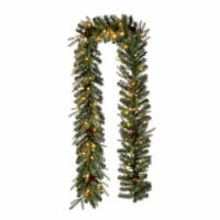 Glitzhome Pre-Lit Greenery Pine Cone Christmas Garland