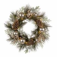Glitzhome Pre-Lit Berry Holly & Pine Cone Silver Ornament Wreath