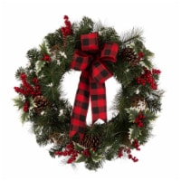 Glitzhome Pine Cone & Berry Holiday Wreath with Bow