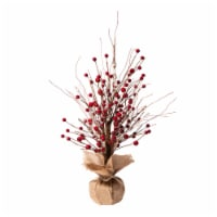 Glitzhome Rustic Christmas Berry Table Tree Decoration - Red
