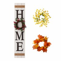 "Glitzhome Wooden ""Home"" Floral Porch Sign Set with Changable Floral Wreaths"