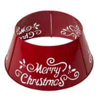 Glitzhome Merry Christmas Diecut Metal Tree Collar with Light String