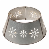 Glitzhome Snowflake Die Cut Metal Tree Collar with Light String