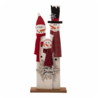 Glitzhome Wooden Snowman Family Porch Sign Decoration