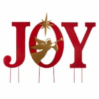 Glitzhome Metal JOY Angel Yard Stake - Red/Gold