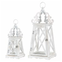 Glitzhome Farmhouse Whitewash Modern Wooden Lanterns with 3D Metal Lace Top