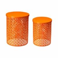 Glitzhome Metal Multi-Functional Garden Stool Plant Stands - Orange