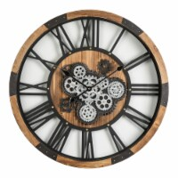Glitzhome Industrial Wooden/Metal Round Gear Wall Clock