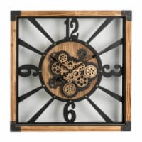 Glitzhome Industrial Wooden/Metal Square Gear Wall Clock - 27.17 in