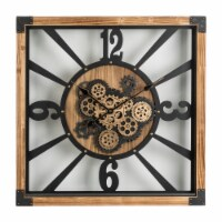 Glitzhome Industrial Wooden/Metal Square Gear Wall Clock