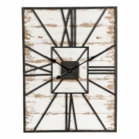Glitzhome Oversized Farmhouse Washed White Wooden/Metal Wall Clock - 31.5 in