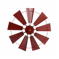 Glitzhome Vintage Metal Wind Spinner Wall Decoration - Red - 22.05 in