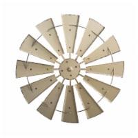 Glitzhome Farmhouse Vintage Metal Wind Spinner Wall Decor - Beige