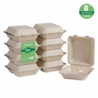 Glitzhome Oak™ PLUS 8-Inch Natural Sugarcane Clamshell Containers - 300 pk
