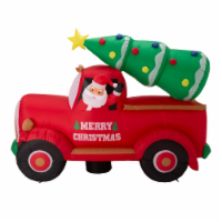 Glitzhome Santa Claus On Pick Up Truck Inflatable Christmas Decor