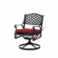 Glitzhome Cast Aluminium Patio Garden Dining Swivel Chair with Wine Red Cushion - 1 ct