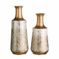 Glitzhome Vintage Trumpet Shaped Metal Vases - Gold/White - 2 pc