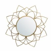 Glitzhome Oversized Modern Glam Lotus Wall Mirror - Gold