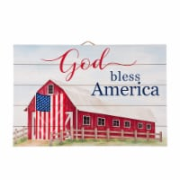 Glitzhome God Bless America Wooden Porch Sign Wall Decor - 30 in