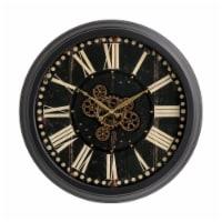 Glitzhome Oversized Vintage Gear Clock - Black
