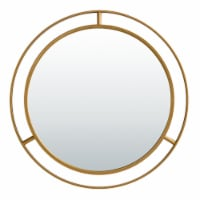 Glitzhome Oversized Glam Metal Round Wall Mirror - Gold