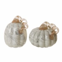 Glitzhome Gray Marble Glass Pumpkin - 1 ct
