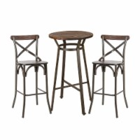 Glitzhome Rustic Steel Round Bar Table and Stools Set