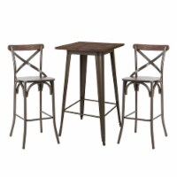 Glitzhome Rustic Steel Square Bar Table & Stools Set