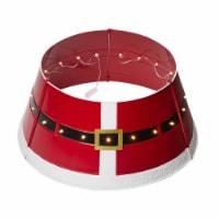 Glitzhome ed Metal Santa Belt Tree Collar with Light String - 1 ct