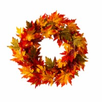 Glitzhome Fall Lighted Maple Leaves Wreath - 24 in