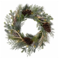 Glitzhome Flocked Pinecone & Antler Wreath with Warm White LED Lights - 24 in