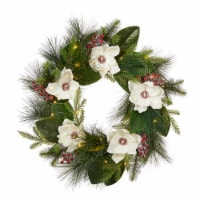 Glitzhome Iced Magnolia Berry Pine Wreath With Lights - 24 in