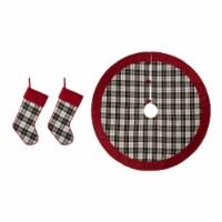 Glitzhome Black & White Plaid Fabric Christmas Stockings with Tree Skirt - 1 ct
