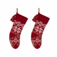 Glitzhome Knitted Snowflake Acrylic Christmas Stockings - 2 pk